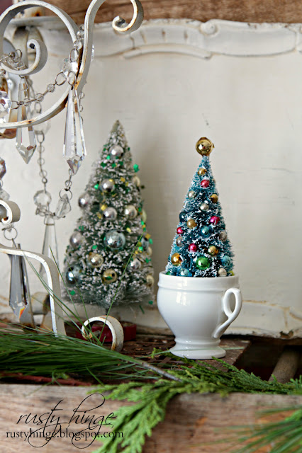 Vintage bottle brush tree in a French ironstone creamer