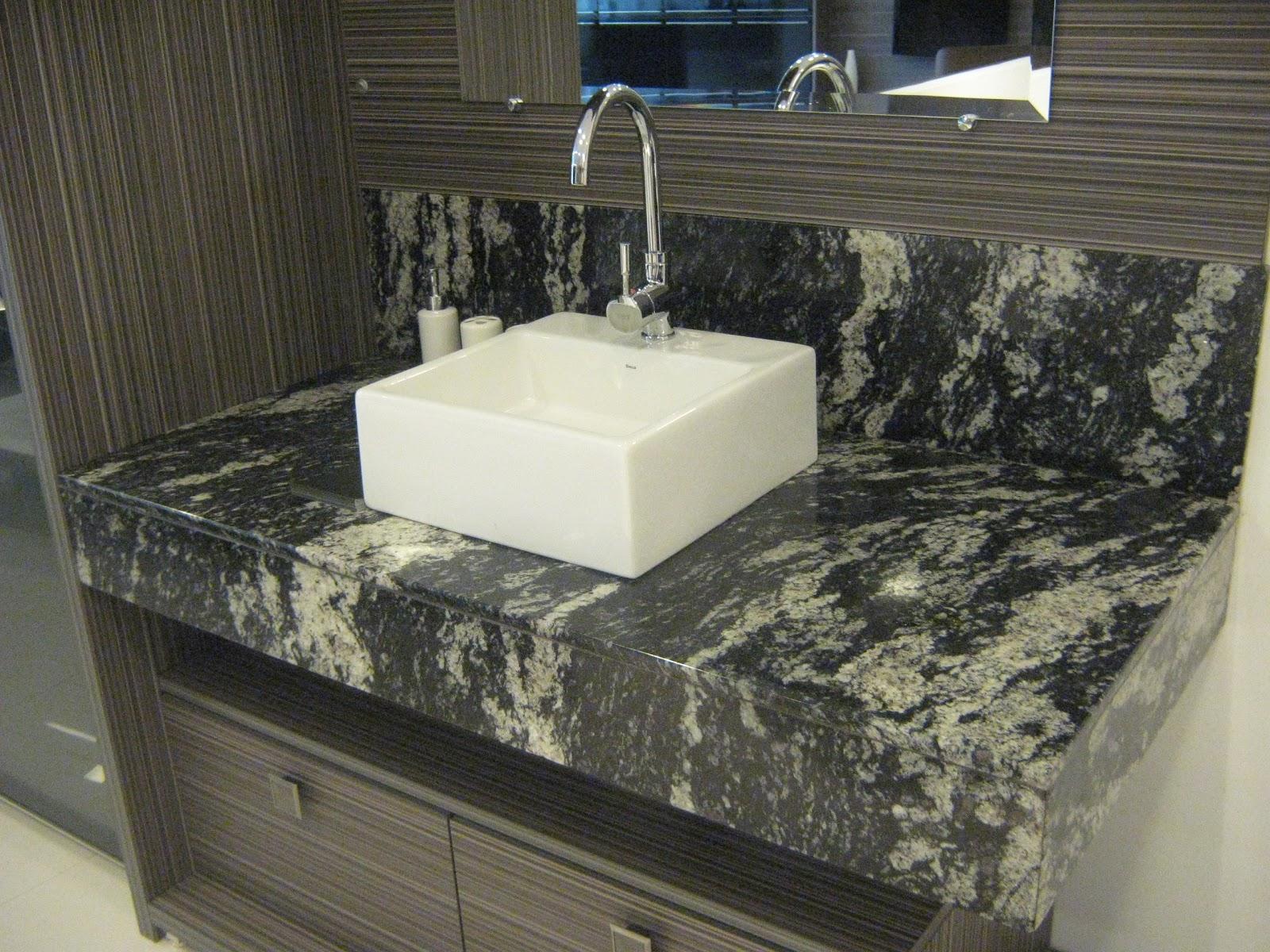 Pias de banheiro Granito Preto Indiano Marmoraria MPK #495F71 1600 1200