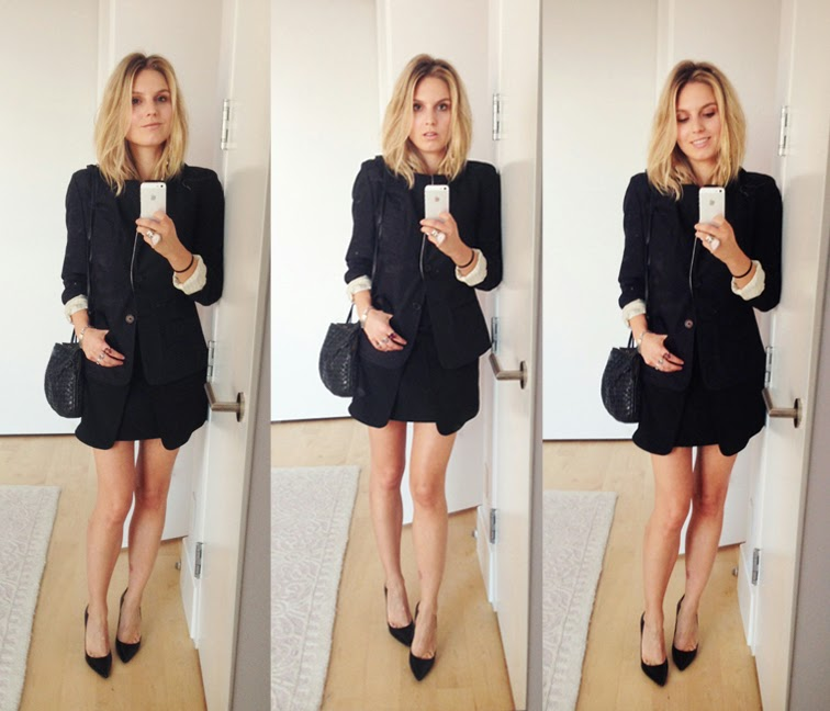 All black pleated skirt sharp blazer classic pumps