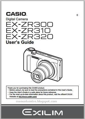 Casio Exilim EX-ZR300 Manual Cover