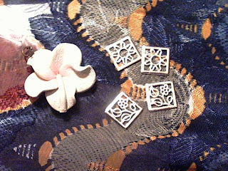 Skye flower pendant connectors silver clay blossom petal jewelry