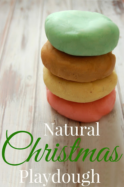 Natural Christmas Playdough! Take the scents of the holidays and capture them in playdough! Candy Cane, Eggnog, Gingerbread, and Christmas Tree! #playdough #christmas #winter #christmascrafts #diychristmas #gingerbread #eggnog #candycane #kids #natural