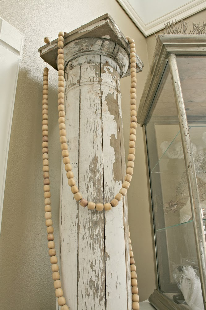 7 Days of Repurposed Seat Covers, Wood Bead Garland, DIY Garland, DIY for Kids, Salvage Column, Chippy White
