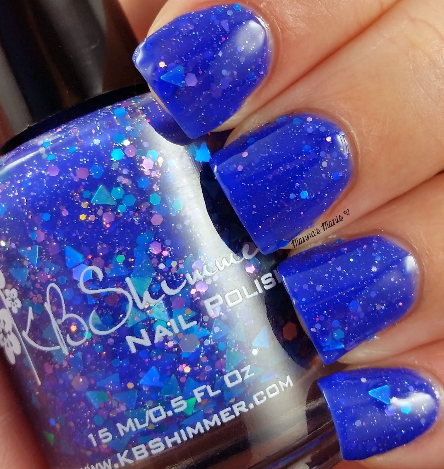 kbshimmer fallen angle, a blue jelly nail polish