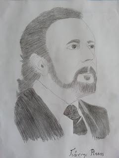 Γ. Ρίτσος, σκίτσο της μαθήτριας Κυριακής Γκατζώνα