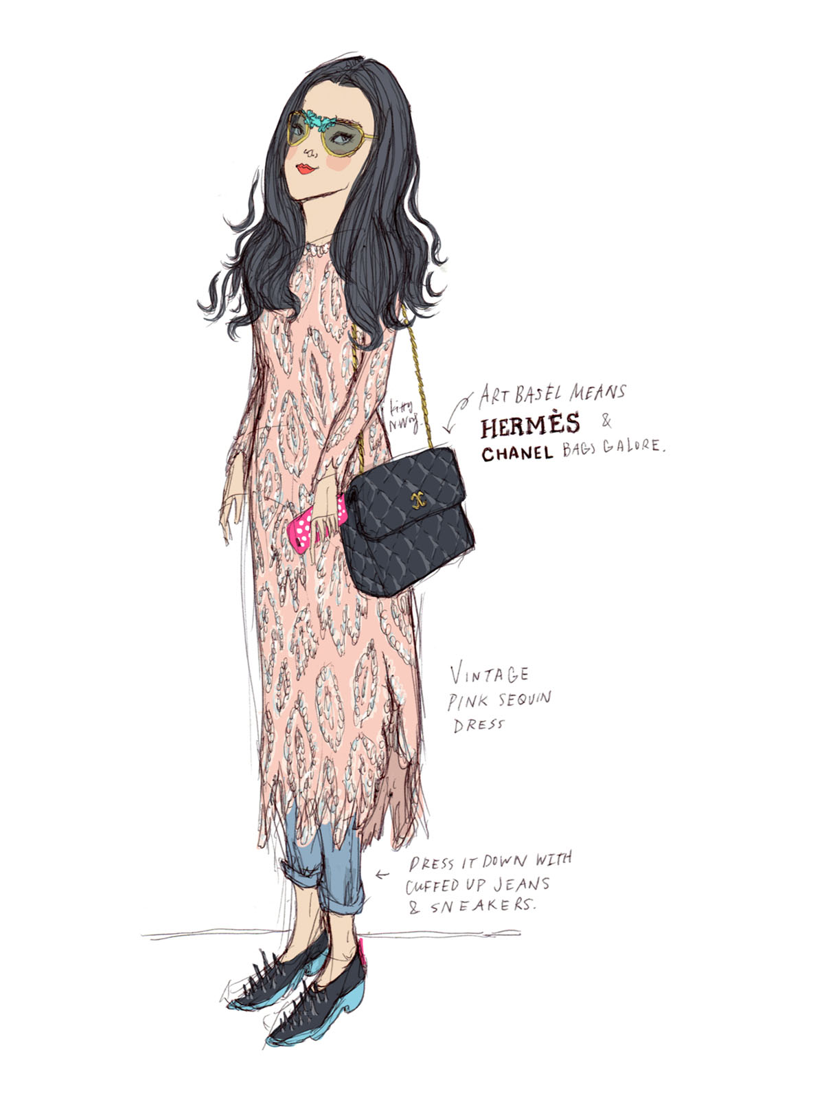 Kitty N. Wong / Art Basel Streetstyle Illustrations