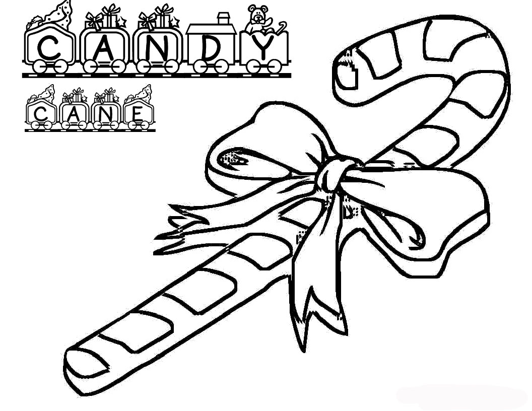 Christmas Candy Canes Coloring Pages To Tree Decorating