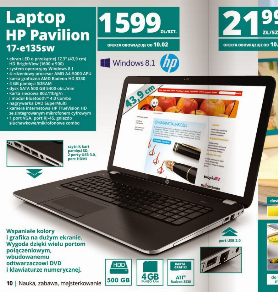 Laptop HP Pavilion 17-e135sw z Biedronki ulotka