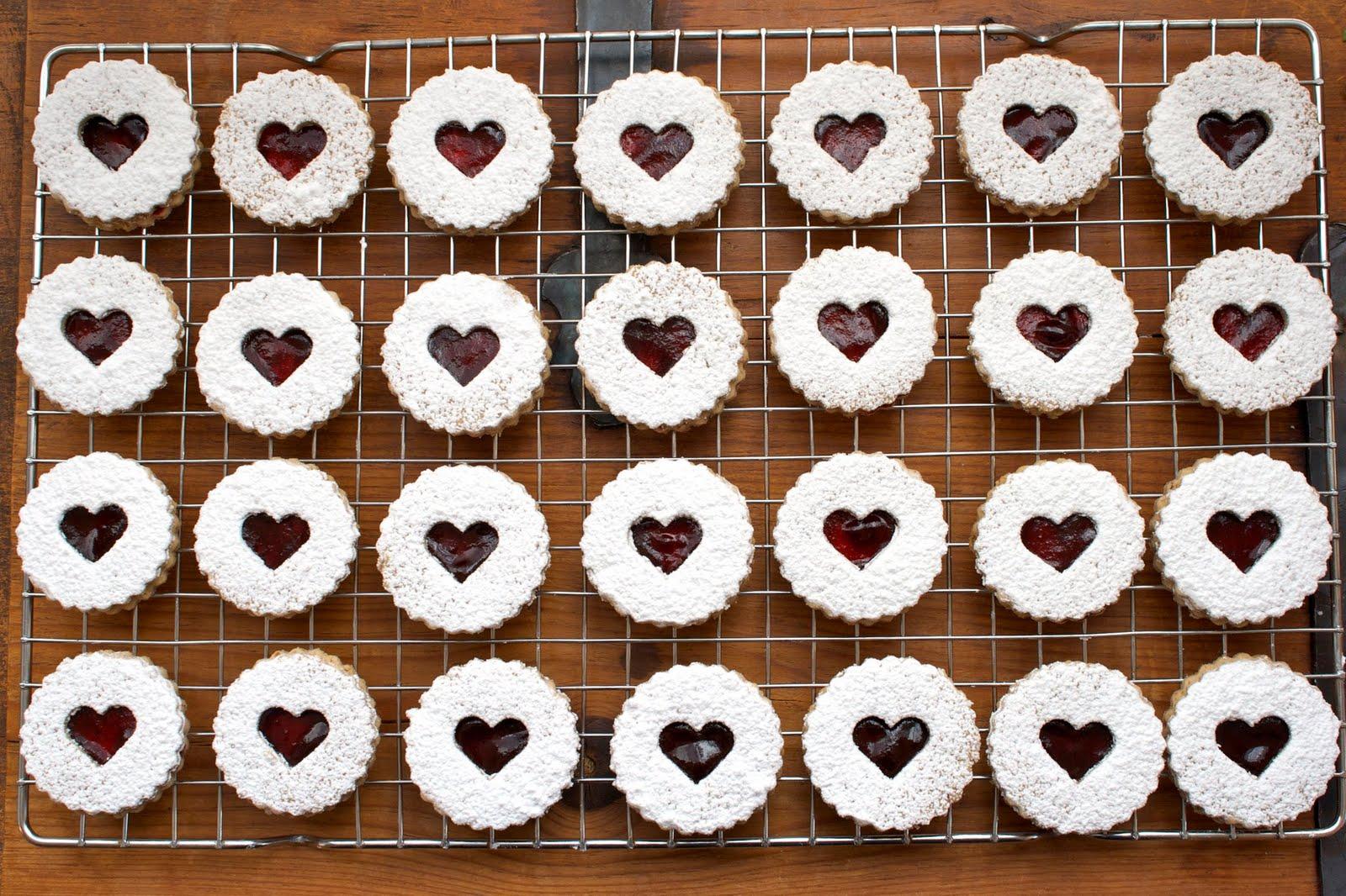 CosmoCookie: Pecan Linzer Heart Cookies with Black Cherry Filling