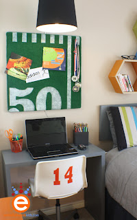 boy's, room makeover, DIY, sports, soccer, football, by Aaron Christensen