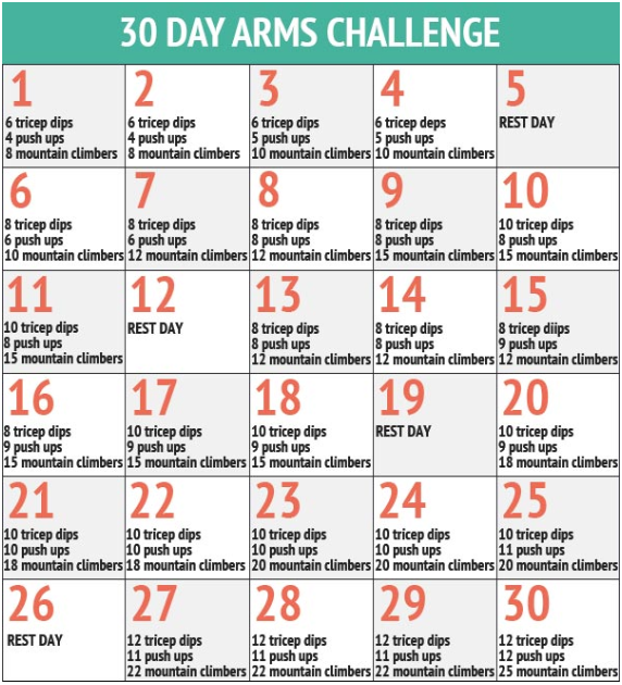 This site is great for 30 day challenges 30dayfitnesschallenges com