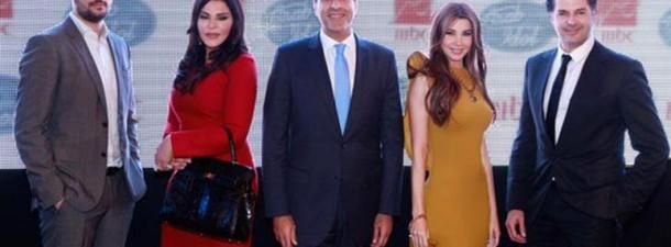 Nancy Ajram, Ragheb Alama et Ahlam à une conférence de presse pour l'émission Arab Idol