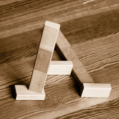 Impossible Alphabet 'A' Illusion with Wooden Blocks