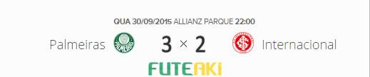 O placar de Palmeiras 3x2 Internacional pelas quartas de final da Copa do Brasil 2015