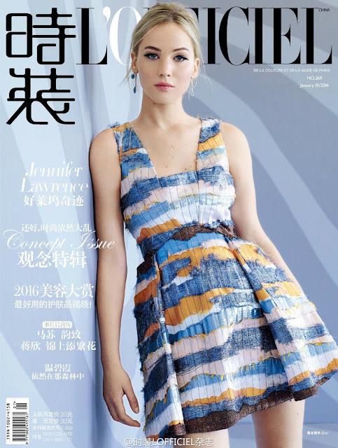 Actress, @ Jennifer Lawrence - Lofficiel China Magazine, January 2016