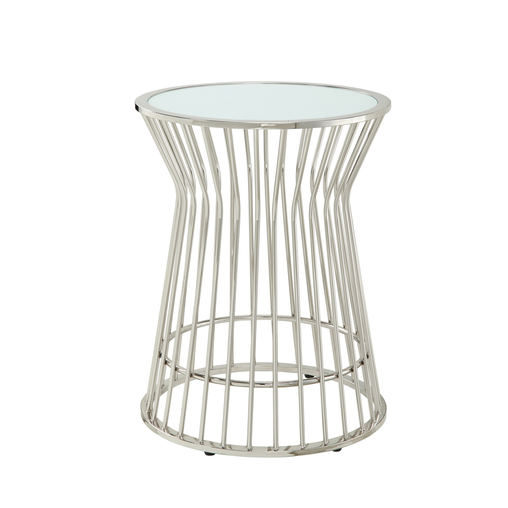 Overstock Kona Contemporary Chrome Platner Glass-Top Accent Table