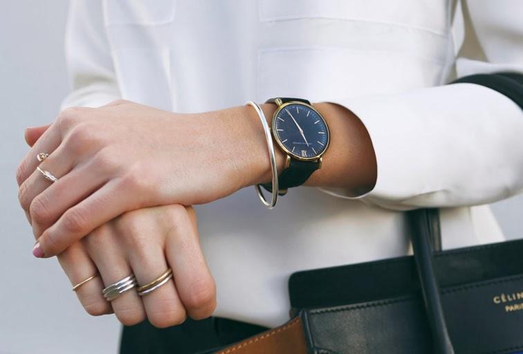 Larsson Jennings watch minimalism, minimalist deisgn, stacked gold dainty rings, Céline Phantom bag