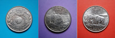 Tres modelos de quarters: Georgia (1999), Iowa (2004) y Dakota del Norte (2006)