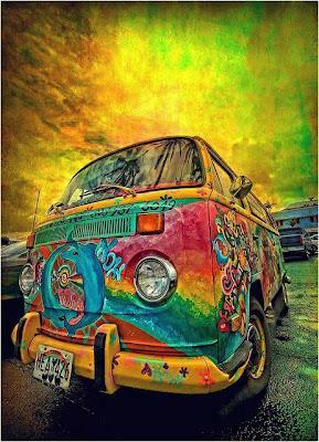Foto artística camioneta Volkswagen Combi hippie