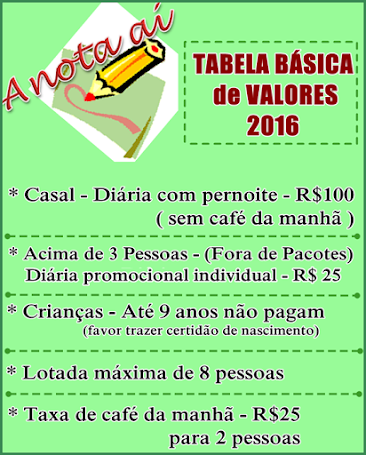TABELA de VALORES 2016