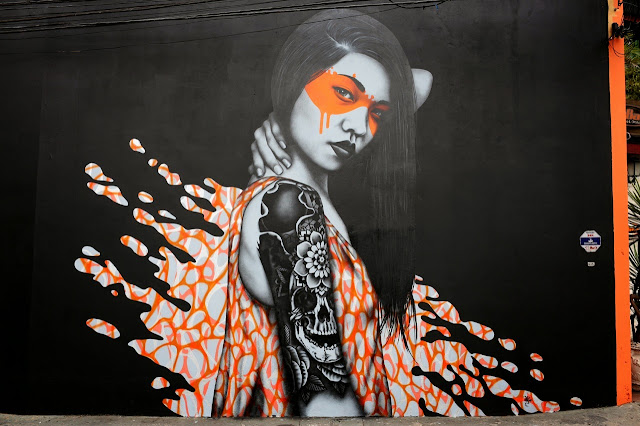 """Splash"" a new sexy street art collaboration by Fin DAC and Angelina Christina in Sao Paulo Brazil.3"