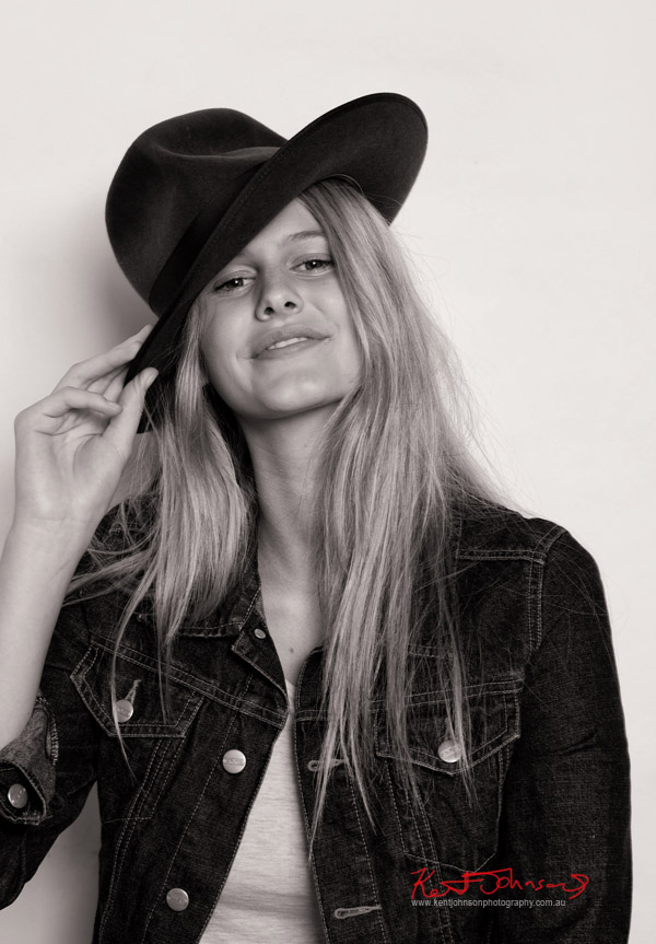 Caitlin channelling Nastassja Kinski.. Hat and Denum Jacket, Photography by Kent Johnson.