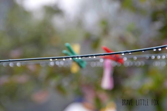 Regentropfen Wäscheleine