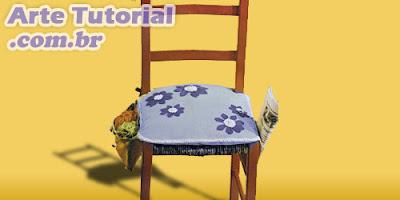Como fazer almofada para assento de cadeira com bolso nas laterais