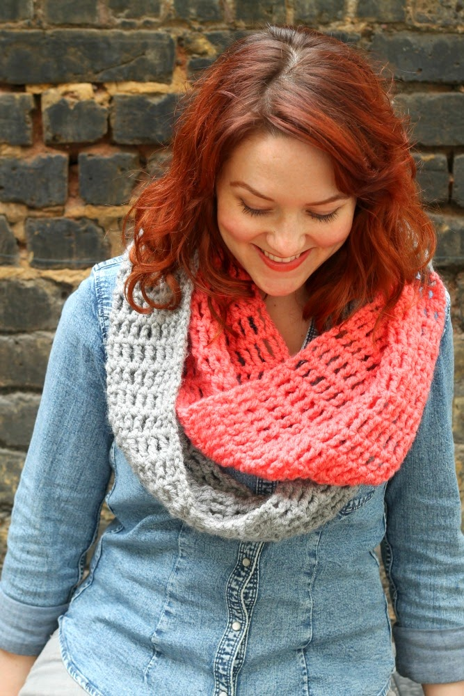 colour block crochet scarf