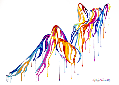 Painting of a woman in a reclined pose created using negative space and dripping colorful acrylic paint. Hand painted on top of screen print on thick paper by canadian artist Shane Turner.