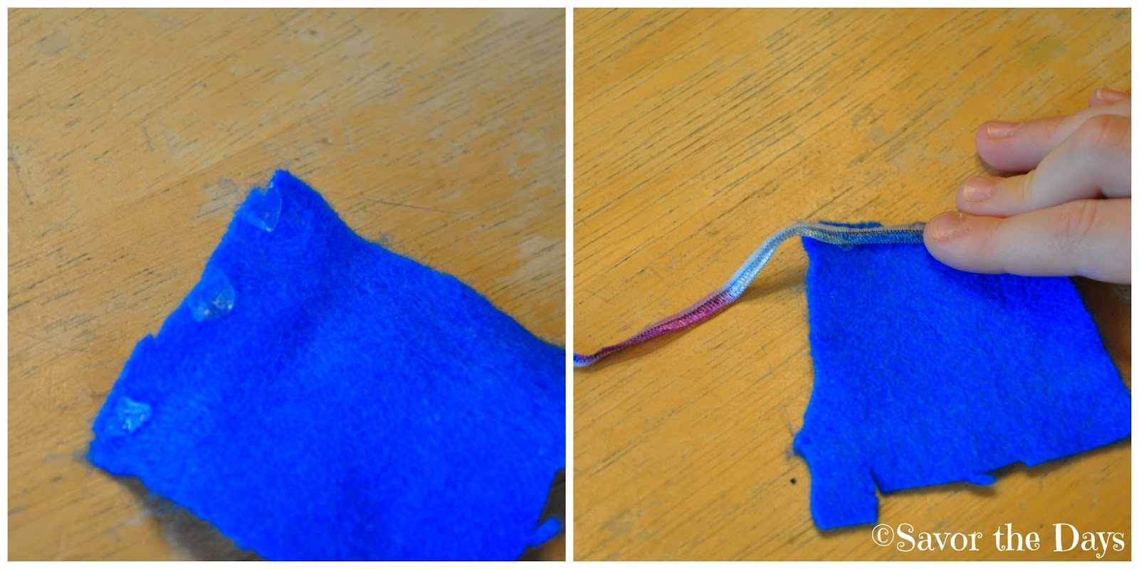 Using glue dots to attach ribbon to cape