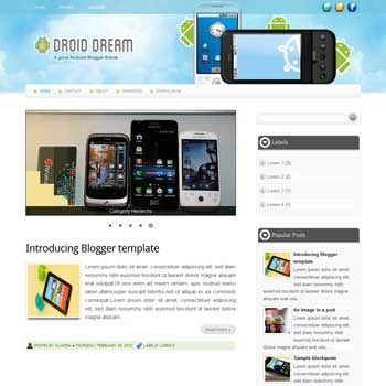 Droid Dream blogger template. blogger template for games blog