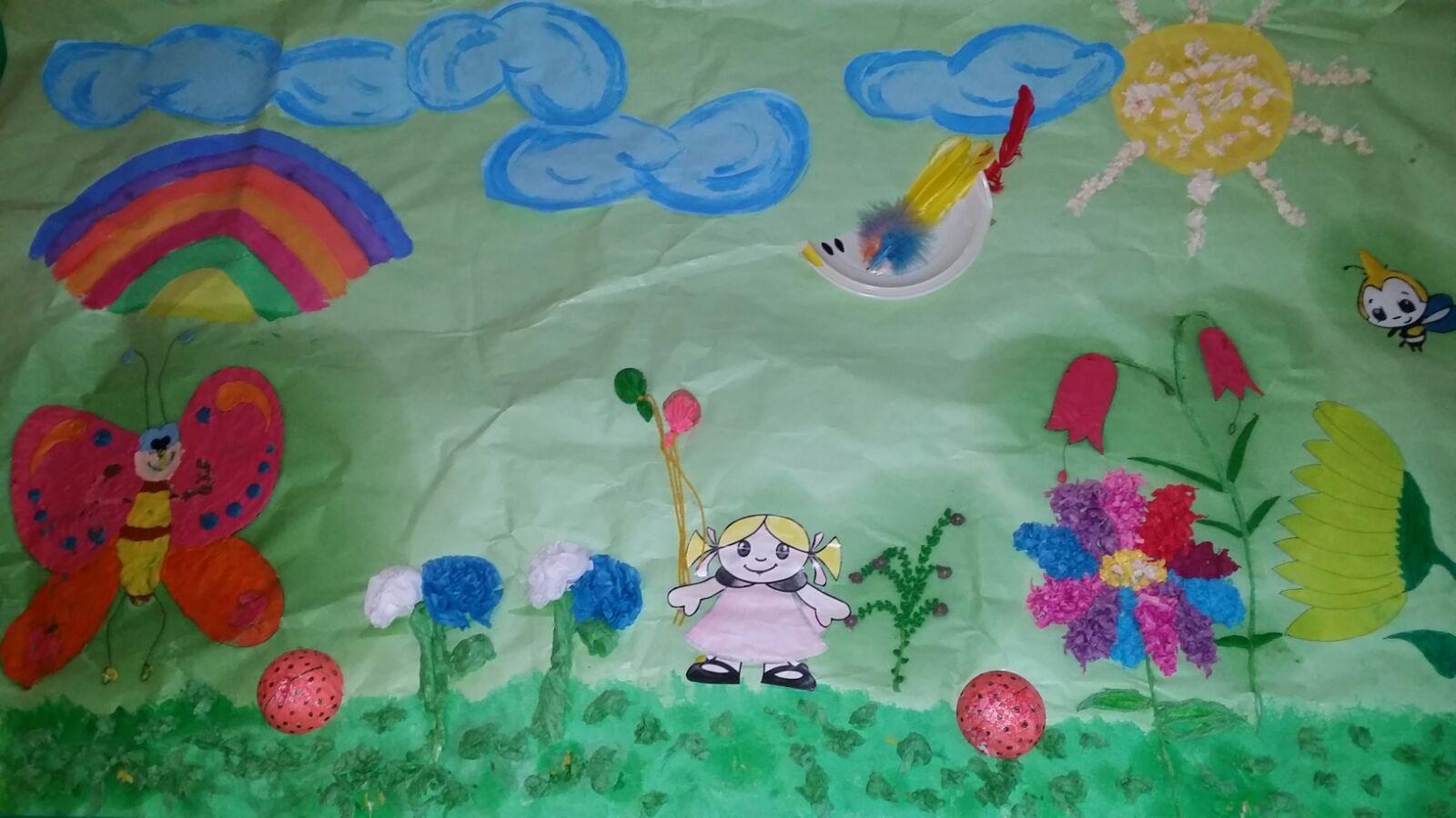 M anal a puza cao mural primavera for Mural de flores y mariposas