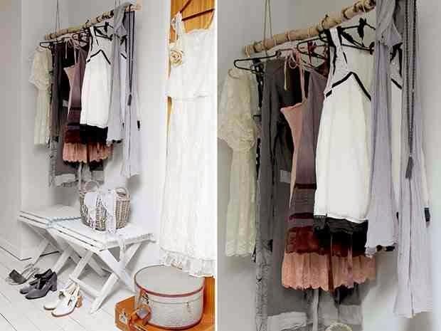Drążek z kija w garderobie