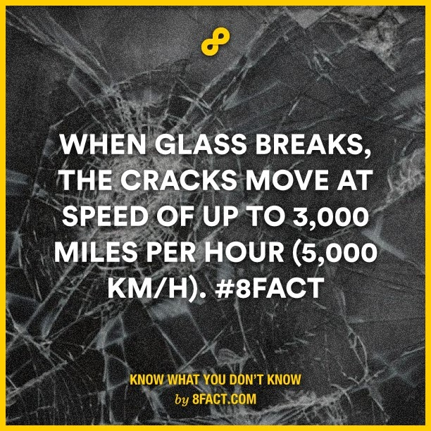 When Glass Breaks , the cracks move at speed of up to 3,000 miles per hour (5,000 km/h) - 8fact