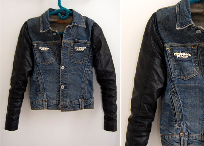 Leather And Denim Jacket