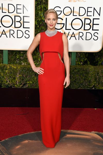 Jennifer Lawrence stuns in a red Dior gown at the Golden Globes 2016