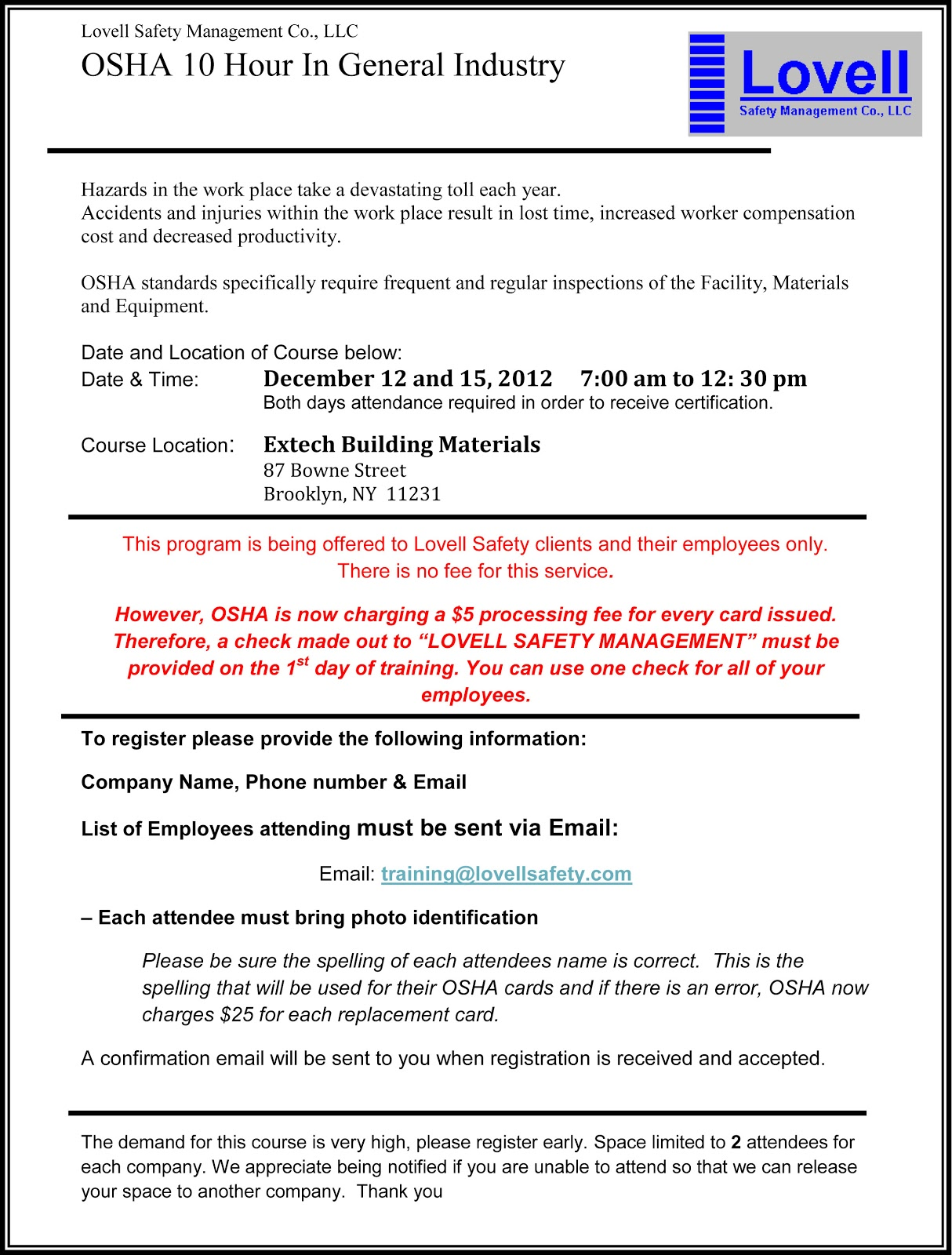 Safety Pays Osha 10 Hour General Industry Course December 12th And