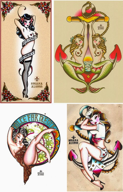 Susana alonso 39 s artwork old time tattoo flash for Pin up tattoo flash