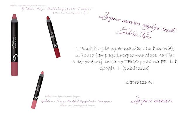 Wyniki rozdania z kredkami Golden Rose Matte Crayon Lipstick!