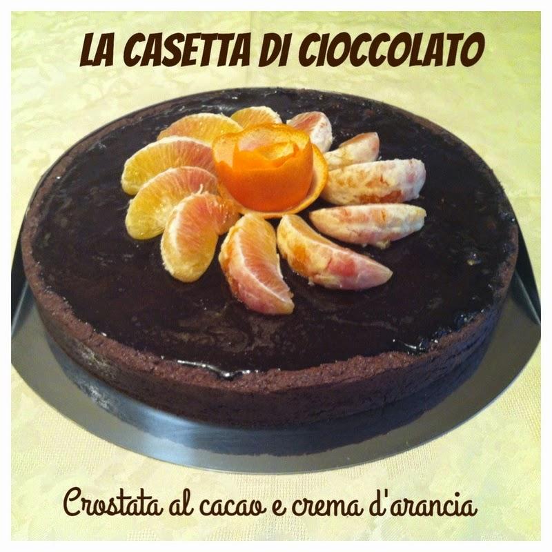 crostata al cacao con crema d'arance caramellate e glassa a specchio