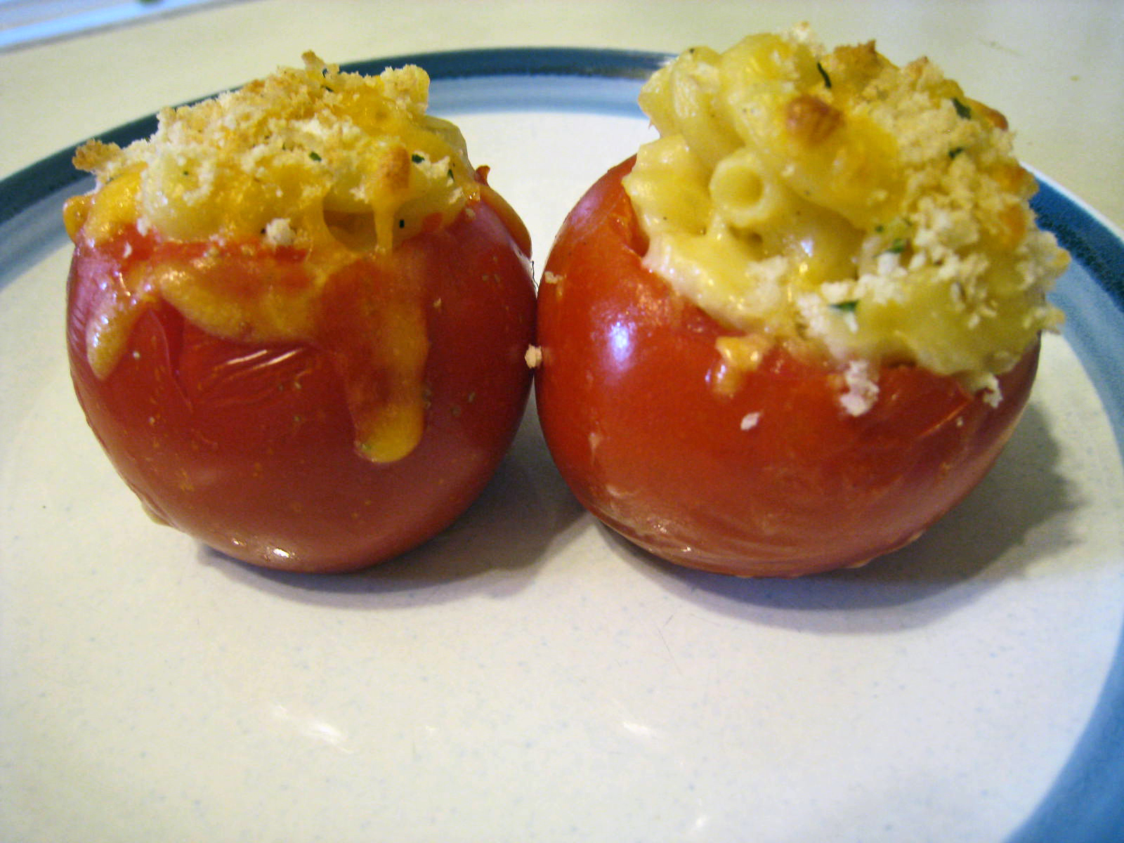 Join us, pull up a chair: Mac & Cheese Stuffed Tomatoes