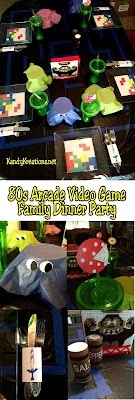 Create a fun family memory with a dinner party just for your family staring your favorite Arcade video games from the 1980s. Pac Man, Donkey Kong, Super Mario, Legend of Zelda, Tetris, and Frogger all make an appearance at this dinner table setting with fun printables and easy DIYs.