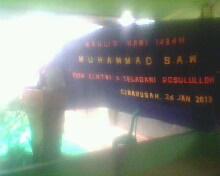 Persiapan peringatan maulid nabi dengan meminta sumbangan warga, Hari pelaksanaan disesuaikan jadwal K.H. Tatang s. dari Kerawang Jawa Barat