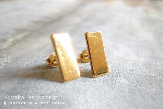 Boucles d'oreilles Plaque dorée Viveka Bergström
