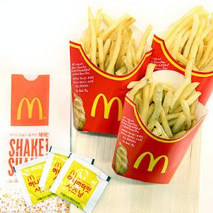 Patatas fritas del McDonald's con salsa de miel y mantequilla