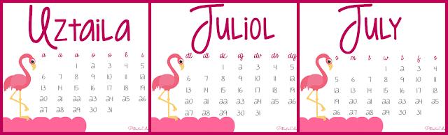 Calendario Imprimible Julio 2015 Castellano,Euskera,Catalá,Inglés