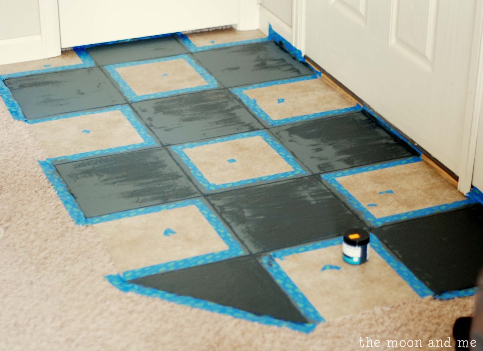 the moon and me painting a tile floor tips and grumbles. Black Bedroom Furniture Sets. Home Design Ideas