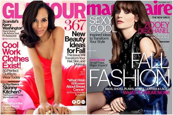 Revista Glamour Marie Claire Setembro 2013 Zooey Deschanel Scandal Kerry Washington US Estados Unidos