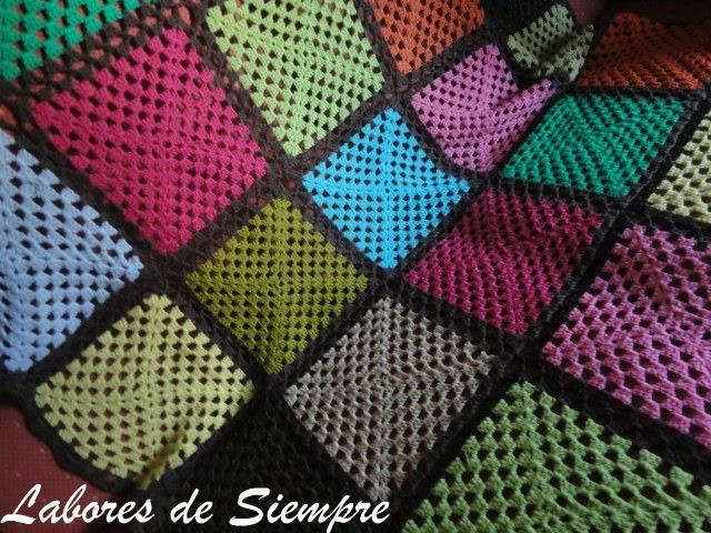 Labores de siempre manta sofas multicolor - Mantas de ganchillo para sofas ...